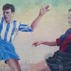 Arte: EXCELENTE PINTURA AL GOUACHE BONITA ESCENA FUTBOLISTICA FIRMADA FUTBOL CLUB BARCELONA VS ESPAÑOL. Lote 50024544
