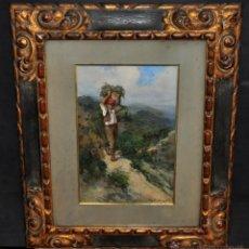 Arte: RICARDO BRUGADA Y PANIZO (BARCELONA, 1867-1919) OLEO SOBRE TELA DE APROXIMADAMENTE 1900. CAMPESINO. Lote 50032855
