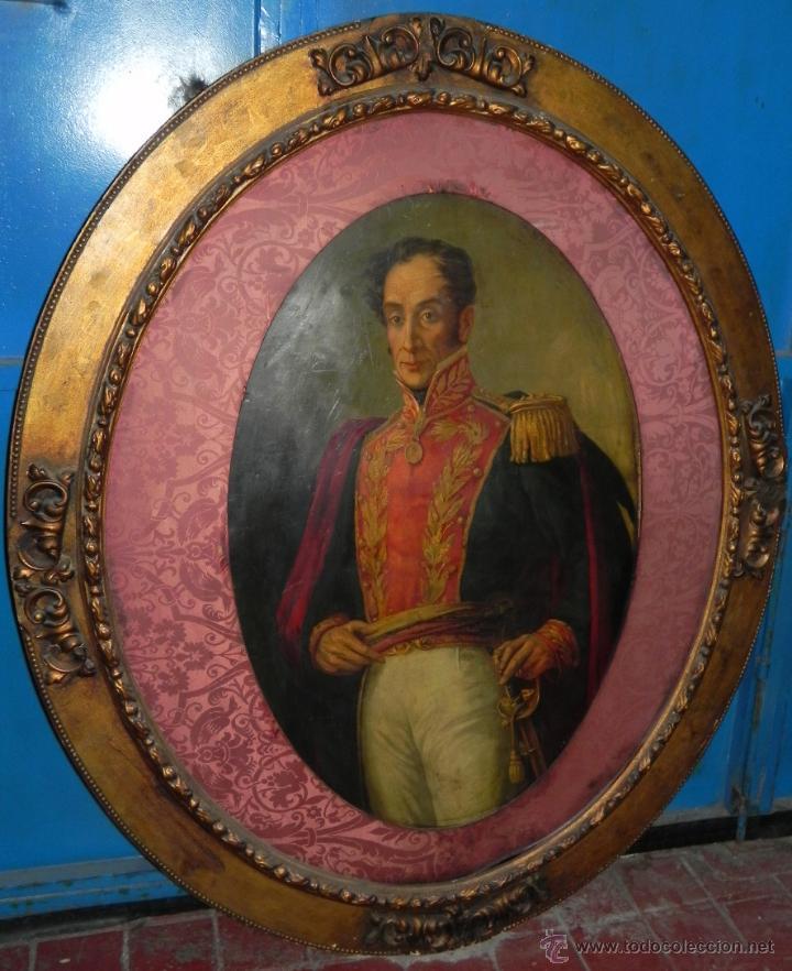 PINTURA AL OLEO DE SIMÓN BOLÍVAR, SIGLO XIX VENEZUELA, PINTADO AL OLEO SOBRE TABLA, GRANDISIMO CON E (Arte - Pintura - Pintura al Óleo Antigua sin fecha definida)