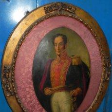 Arte: PINTURA AL OLEO DE SIMÓN BOLÍVAR, SIGLO XIX VENEZUELA, PINTADO AL OLEO SOBRE TABLA, GRANDISIMO CON E. Lote 50045855