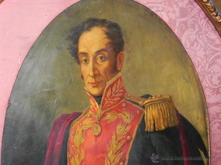 Arte: Pintura al oleo de Simón Bolívar, siglo XIX Venezuela, pintado al oleo sobre tabla, grandisimo con e - Foto 2 - 50045855