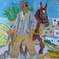 Arte: LABRADOR, ÓLEO SOBRE MADERA 50X45 CM. DE CRESPO. Lote 50057051