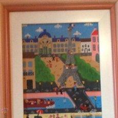 Arte: PINTURA NAÏF FIRMADA,PARIS TORRE EIFFEL. Lote 50130323
