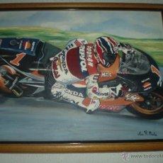Arte: MOTORISTA DE FORMULA UNO HONDA REPSOL OLEO SOBRE LIENZO FIRMADA. Lote 50153237