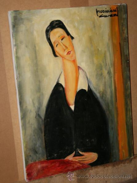 CUADRO DEL ARTISTA DE ALCALA DE HENARES Y COPISTA DEL MUSEO DEL PRADO ANTONIO CEREZO - MODIGLIANI 2º (Arte - Pintura - Pintura al Óleo Moderna sin fecha definida)