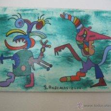 Arte: OLEO DE GERMÁN ROSCALES. AÑO 2000. POTORORO CON UN CHICLE EN LA MANO.. Lote 50304286