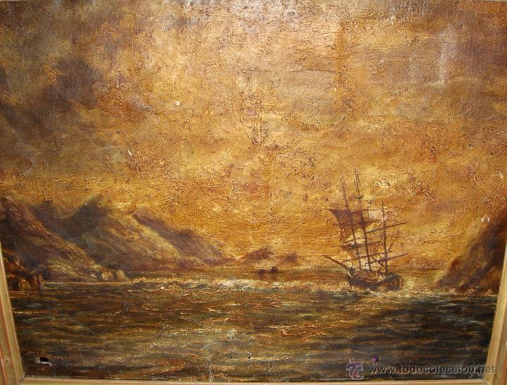 Arte: Oleo sobre lienzo. Marina. S.XIX. Marco de madera, estuco y pan de oro. - Foto 2 - 50310207