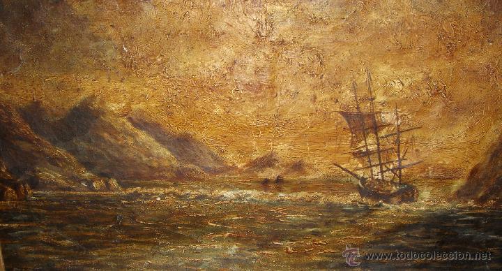 Arte: Oleo sobre lienzo. Marina. S.XIX. Marco de madera, estuco y pan de oro. - Foto 3 - 50310207