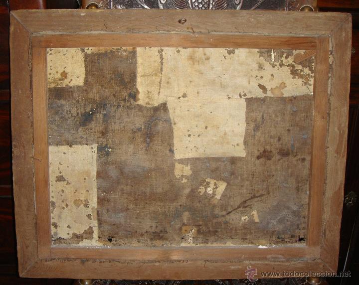 Arte: Oleo sobre lienzo. Marina. S.XIX. Marco de madera, estuco y pan de oro. - Foto 4 - 50310207