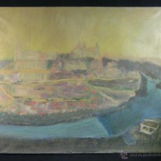 Arte: VISTA DE TOLEDO DESDE EL MIRADOR OLEO SOBRE LIENZO TONOS PASTEL CERAS RIO TAJO FF S XX 50X61CMS. Lote 50409174