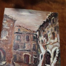 Arte: OLEO DE UN RINCÓN DE LA PLAZA MAYOR DE STA. PAU EN LA GARROTXA (GIRONA-GERONA). Lote 50432751