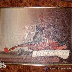 Arte: OLEO DE GRAN CALIDAD, INSTRUMENTOS MUSICALES , FIRMADO POR CRITINA,97. Lote 50445258