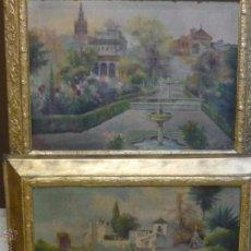 Arte: PAREJA DE PAISAJES DE SEVILLA 1918. Lote 50640841