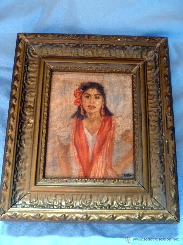 MARAVILLOSA PINTURA AL OLEO FINALES DEL SIGLO XIX GITANILLA COSTUMBRISTA (Arte - Pintura - Pintura al Óleo Moderna siglo XIX)