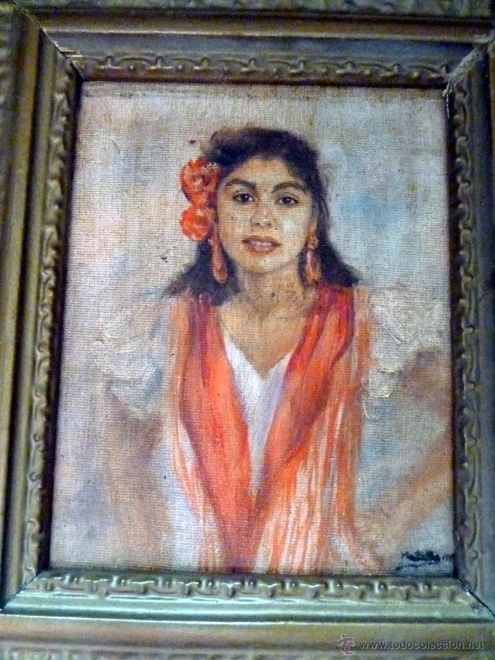 Arte: MARAVILLOSA PINTURA AL OLEO FINALES DEL SIGLO XIX GITANILLA COSTUMBRISTA - Foto 5 - 50703294