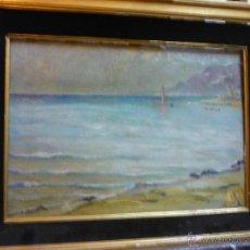 Arte: ZARDO ALBERTO (1876-1959) PINTOR ITALIANO - ÓLEO SOBRE TELA - PAISAJE DE COSTA. Lote 50852121