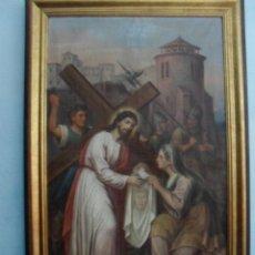 Arte: OLEO SOBRE LIENZO GRAN TAMAÑO SXIX REPRESENTANDO A LA VERONICA 124X77CM MAS EL GRUESO MARCO. Lote 45261926