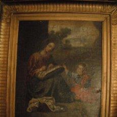 Arte: OLEO DE LA VIRGEN COSIENDO S XVII. Lote 50964363