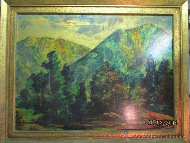 PAISAJE PINTADO EN TABLA FIRMADO,DEL ESCULTOR CATALA JAIME PERELLÓ, AÑO 1980 (VER FOTOS) (Arte - Pintura Directa del Autor)
