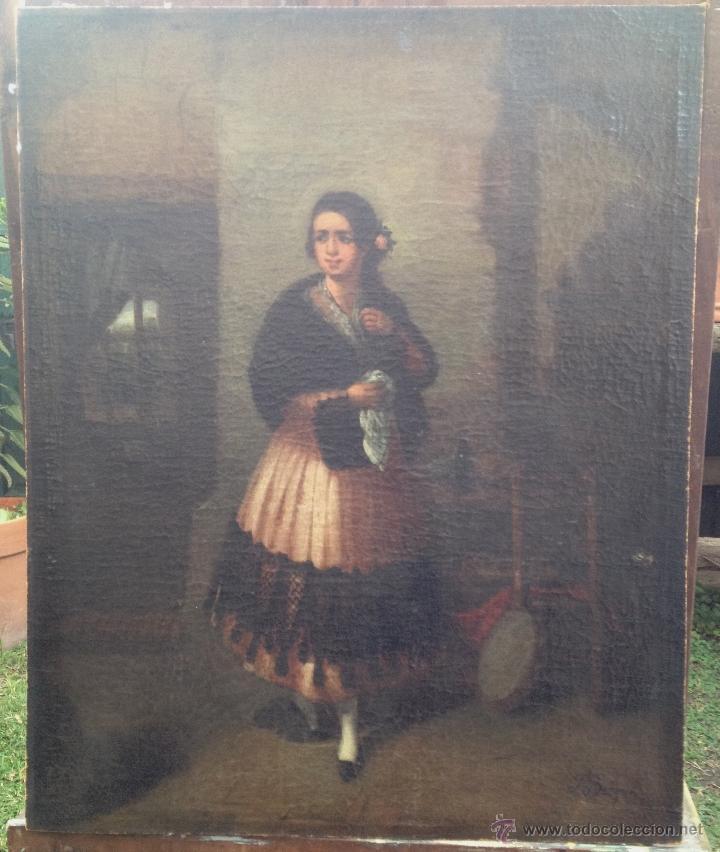 JOAQUÍN DOMINGUEZ BÉCQUER (1817-1879) - PINTOR ESPAÑOL - ÓLEO SOBRE TELA, PEGADA A CARTÓN. (Arte - Pintura - Pintura al Óleo Moderna sin fecha definida)