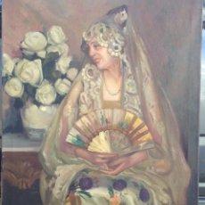 Arte: ALEJANDRO CHRISTOPHERSEN (1866-1946) - PINTOR NORUEGO-ARGENTINO - ÓLEO SOBRE TELA - MAJA CON ABANICO. Lote 51001370