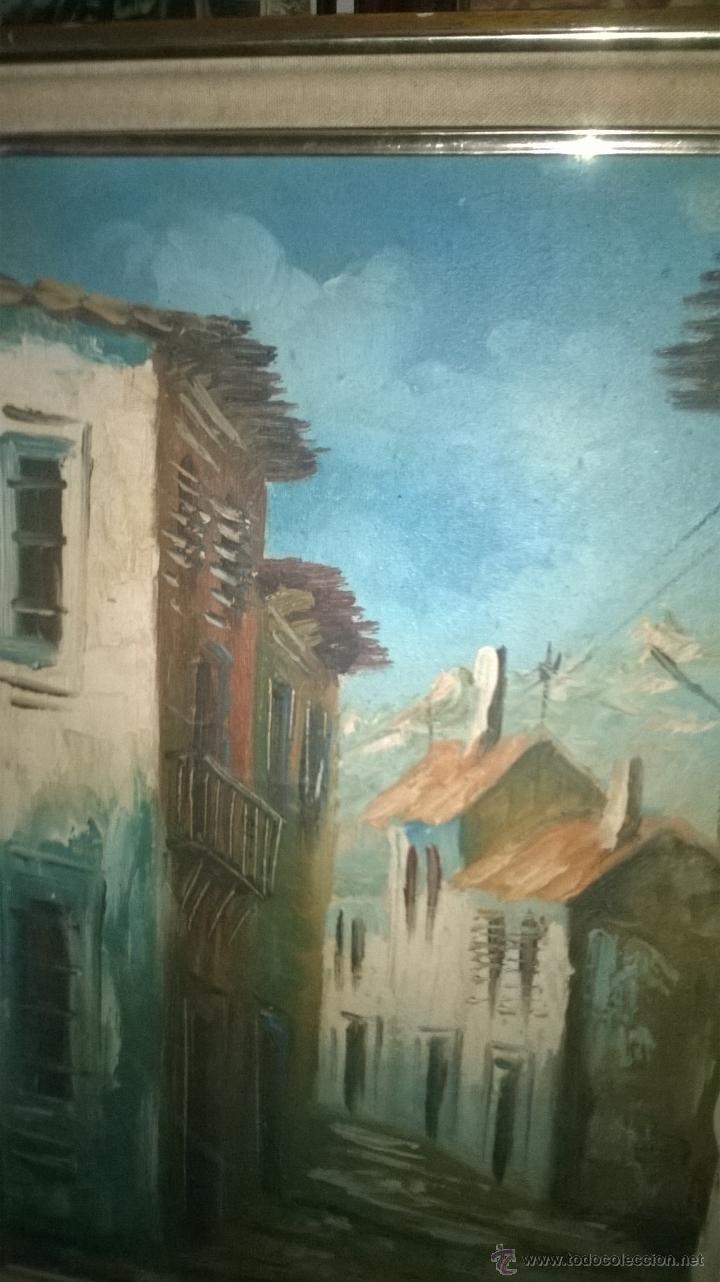 Arte: Oleo sobre tabla calles casas - Foto 3 - 51001822