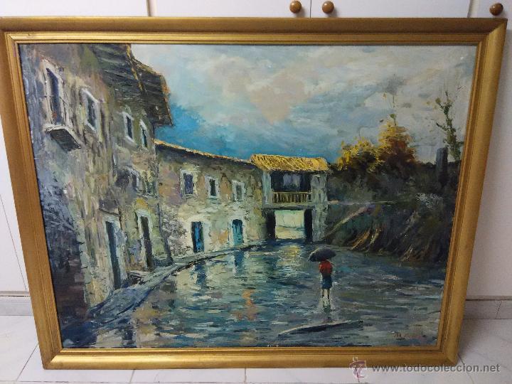 CUADRO OLEO ( DIA LLUVIOSO) (Arte - Pintura - Pintura al Óleo Moderna siglo XIX)