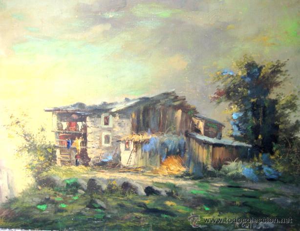 PAISAJE RURAL. ÓLEO/LIENZO FIRMADO R. GALVAN (Arte - Pintura - Pintura al Óleo Contemporánea )