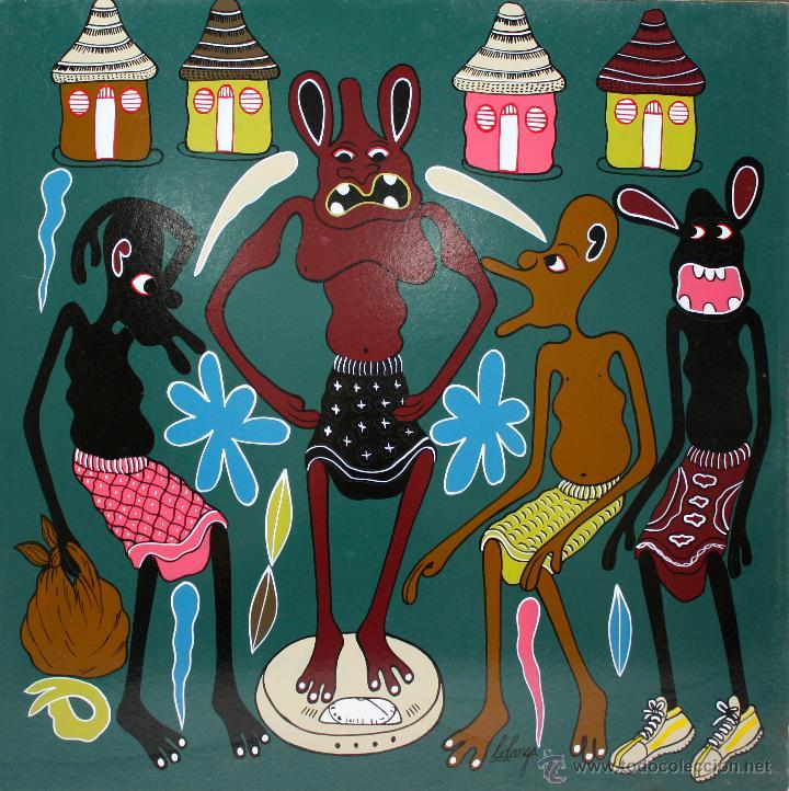 ARTE AFRICANO. OBRA ORIGINAL GEORGE LILANGA. KUPIMA UZITO. 2004 (Arte - Pintura - Pintura al Óleo Contemporánea )