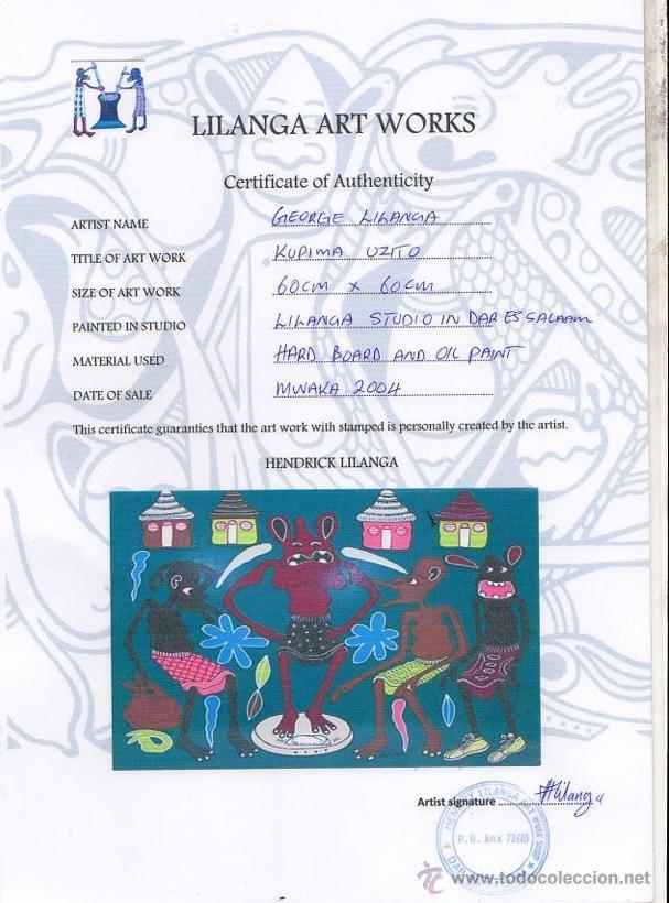 Arte: ARTE AFRICANO. OBRA ORIGINAL GEORGE LILANGA. KUPIMA UZITO. 2004 - Foto 3 - 51061178