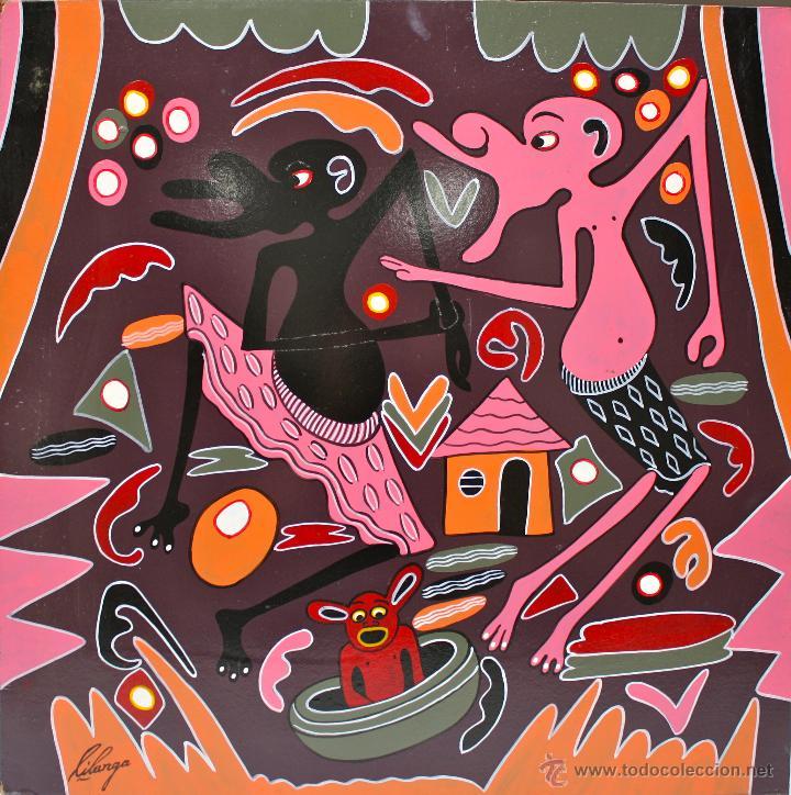 ARTE AFRICANO. OBRA ORIGINAL GEORGE LILANGA. MWOGESJE MAJI MTOTO. 1998. (Arte - Pintura - Pintura al Óleo Contemporánea )