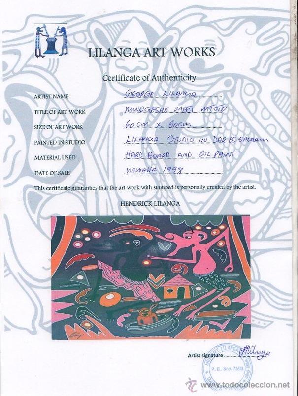 Arte: ARTE AFRICANO. OBRA ORIGINAL GEORGE LILANGA. MWOGESJE MAJI MTOTO. 1998. - Foto 3 - 51061258