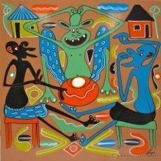 Arte: ARTE AFRICANO. OBRA ORIGINAL GEORGE LILANGA. NATAKA KILA MMOJA ASHUHUDIE. 1998. . Lote 51061312