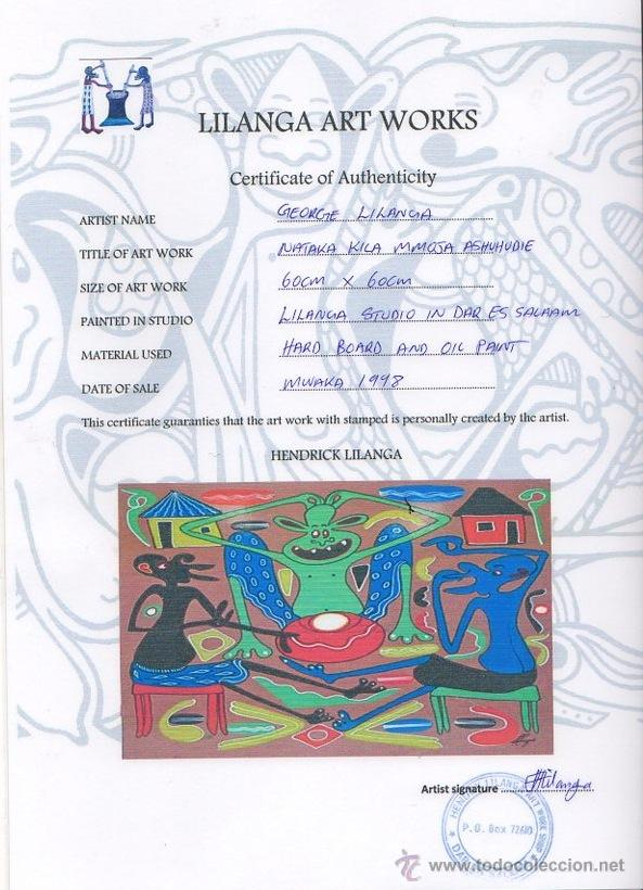 Arte: ARTE AFRICANO. OBRA ORIGINAL GEORGE LILANGA. NATAKA KILA MMOJA ASHUHUDIE. 1998. - Foto 3 - 51061312