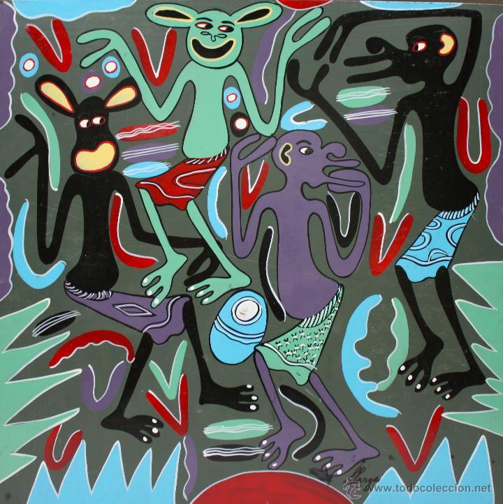ARTE AFRICANO. OBRA ORIGINAL GEORGE LILANGA. VIPIJAMANI MBONA SIELEWI. 1998. (Arte - Pintura - Pintura al Óleo Contemporánea )