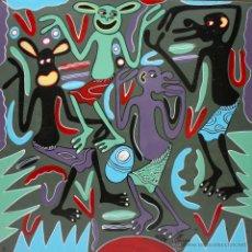 Arte: ARTE AFRICANO. OBRA ORIGINAL GEORGE LILANGA. VIPIJAMANI MBONA SIELEWI. 1998. . Lote 51061353