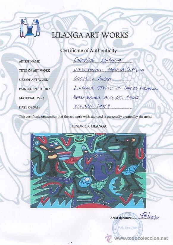 Arte: ARTE AFRICANO. OBRA ORIGINAL GEORGE LILANGA. VIPIJAMANI MBONA SIELEWI. 1998. - Foto 3 - 51061353