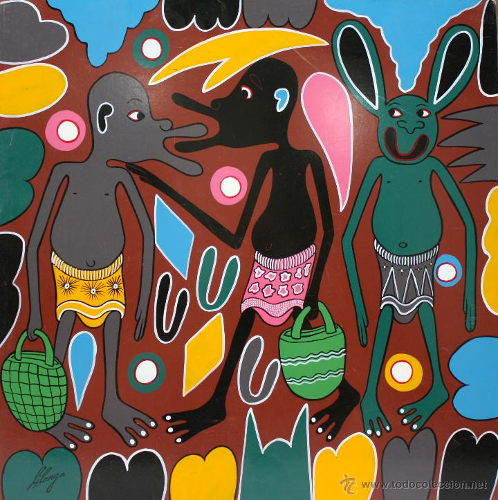 ARTE AFRICANO. OBRA ORIGINAL GEORGE LILANGA. TUSIBISHANE BWANA. 2002. (Arte - Pintura - Pintura al Óleo Contemporánea )