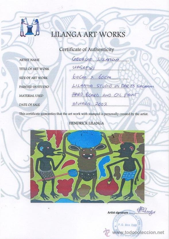 Arte: ARTE AFRICANO. OBRA ORIGINAL GEORGE LILANGA. WASAFIRI. 2002 - Foto 3 - 51061501