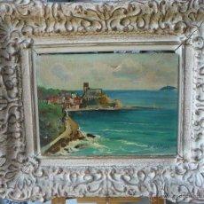 Arte: ANGELO BALBI (1872-1939) - PINTOR ITALIANO - ÓLEO SOBRE TABLA - VISTA COSTERA. Lote 51065858