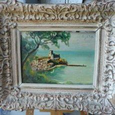 Arte: ANGELO BALBI (1872-1939) - PINTOR ITALIANO - ÓLEO SOBRE TABLA - VISTA COSTERA. Lote 51065954