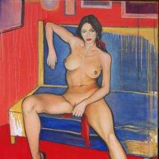 Arte: MUJER MORENA, HOMENAJE A ROMERO DE TORRES, OLEO SOBRE LIENZO, 50X70.. Lote 51102474