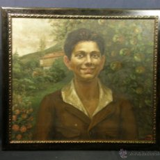 Arte: OLEO SOBRE LIENZO CHICO ASTURIANO PRADO MANZANOS ROSAL RETRATO AÑOS 20 1922 FIRMA L. DEL VALLE 55X62. Lote 51143632