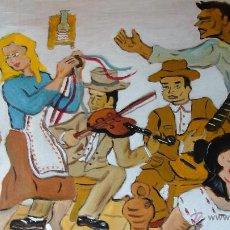 Arte: CANTE DEL TROVO EN EL TREBOLAR DE ADRA, ÓLEO SOBRE TABLA 55X85 CM. DE CRESPO. Lote 51195967