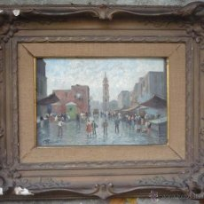 Arte: VINCENZO CANINO (1892-1978) - PINTOR ITALIANO - ÓLEO SOBRE TABLA - MERCADO. Lote 51256699