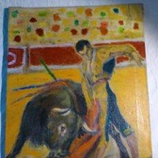 Arte: LLOPART ÓLEO TOROS MANOLETE PASE TAURINO BARCELONA. Lote 51260599