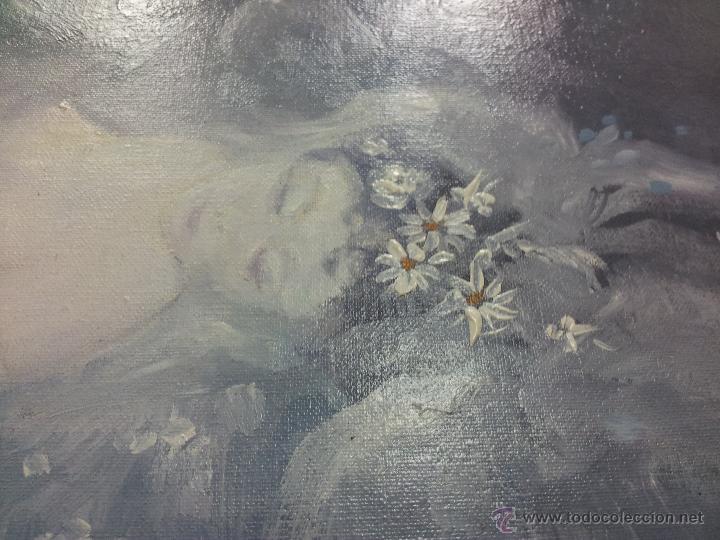 Arte: OLEO LIENZO DE ANTONI BARINGO ...TARRAGONA..TITULADO...EL SOMNI DE UNA NUVIA..AÑOS 90 - Foto 5 - 51322174