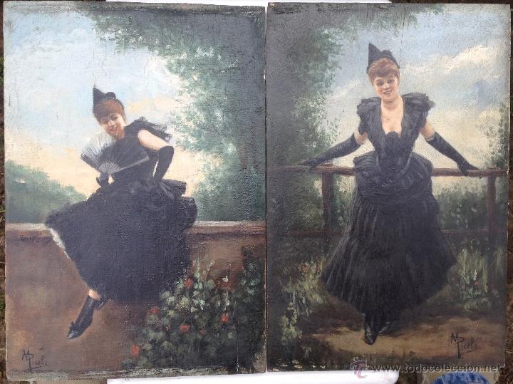 MANUEL PICOLO LOPEZ (1855-1912) PINTOR ESPAÑOL - PAR DE ÓLEOS SOBRE MADERA (Arte - Pintura - Pintura al Óleo Moderna sin fecha definida)