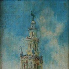Arte: JOSE MONTENEGRO. VISTA DE LA GIRALDA DESDE EL PATIO DE LOS NARANJOS. OLEO/ TABLA 52X21. CERTIFICADO.. Lote 51348793