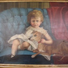 Arte: NIÑO CON PERRO SOBRE SOFÁ. SMALL CHILD AND DOG ON SETTEE.. Lote 51362294
